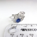 Vintage Sapphire Diamond Ring Circa 1940's Blue Sapphire Cocktail Anniversary Ring Band 14k White Gold