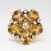 Vintage Estate 1960's 3.75ct t.w. Natural Topaz & Diamond Flower Cocktail Birthstone Ring 14k