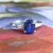 Vintage Estate 1.57ct t.w. Oval Blue Sapphire & Baguette Diamond Three Stone Engagement Anniversary Ring Platinum