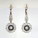 Antique Edwardian Vintage 1920's Blue Sapphire Diamond Halo Chandelier Wedding Earrings Platinum 18k Yellow Gold