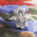Vintage Art Deco 1930's .28ct t.w. Old European Cut Diamond Filigree Navette Anniversary Cocktail Ring Platinum