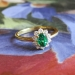 Vintage .64ct t.w. GIA Certified Natural Green Emerald & Diamond Halo Ring 18k Yellow Gold