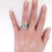 Vintage Edwardian 1920's 2.03ct t.w. Turquoise & Old European Cut Diamond Cocktail Ring 14k