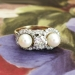 Edwardian 1920's Vintage .75ct t.w. Old European Cut Diamond Pearl Three Stone Engagement Wedding Ring Platinum 14k Yellow Gold