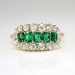 Edwardian 1920's 1.15ct t.w. Old European Cut Diamond & Emerald Engagement Anniversary Ring 14k Yellow Gold