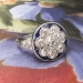 Romantic 1.70ct t.w. 1930's Old European Cut Diamond & Lab Sapphire Floral Engagement Ring Platinum