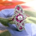 Antique Edwardian Vintage 1920's Ruby Old European Cut Diamond Anniversary Cocktail Ring 18k Platinum