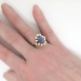 Vintage Estate 1950's Cornflower Blue Sapphire Asscher Diamond Halo 18k Yellow Gold Engagement Cocktail Anniversary Birthstone Ring