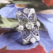 Art Deco Vintage 1930's Old European Cut Diamond Filigree Navette Anniversary Cocktail Ring 14k White Gold