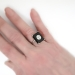 Art Deco Vintage 1930's Onyx Old European Cut Diamond Platinum Cocktail Anniversary Ring