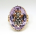 Antique Victorian 1890's Rose de France Amethyst Rose Cut Diamond Insect Fly Ring 14k Rose Yellow Gold