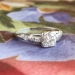 Vintage Retro 1940's Old Transitional Cut French Cut Diamond Engagement Wedding Anniversary Ring Platinum