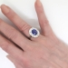 Vintage Estate 1940's 6.36ct t.w. No Heat Violet Blue Sapphire & Diamond Halo Engagement Ring 18k White Gold