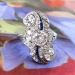 Antique Edwardian 1920's 2.22ct t.w. Old European Cut Diamond & Blue Sapphire Engagement Anniversary Cocktail Ring Platinum
