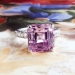 Estate Pink Purple Kunzite Diamond Cocktail Statement Ring 18k White Gold