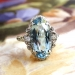 Art Deco Vintage 1930's Oval Aquamarine Diamond Anniversary Engagement Birthstone Cocktail Filigree 14k White Gold Ring