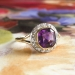Art Deco Vintage 1930's Amethyst Old Mine Cut Diamond Filigree Ring Platinum 18k Yellow Gold