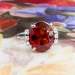 Vintage Estate 1950's Spessartite Garnet Diamond Ring 18k White Gold