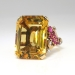 Vintage Retro Estate 1940's Citrine Ruby Diamond Cocktail Birthstone Anniversary Ring 14k Rose Gold Platinum