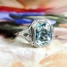 Art Deco 1930's Vintage Aquamarine Filigree Engagement Birthstone March Ring 18k White Gold