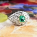 Art Deco Emerald Diamond Ring Platinum 18k Yellow Gold