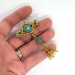 Antique Victorian Diamond Pendant Victorian Turquoise Tassel Necklace Brooch Pin 18k 9k Yellow Gold Sterling Silver