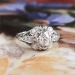 Art Deco Engagement Ring 1930's Old European Cut Diamond Filigree Halo Engagement Wedding Anniversary Ring Platinum