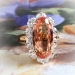 Estate Oscar Heyman Imperial Precious Peach Topaz & Oval Diamond Halo Ring 18k Yellow Gold Platinum