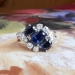 Vintage Sapphire Diamond Ring Circa 1950's Natural Blue Oval Sapphire Diamond 18k Gold Ring