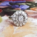 Art Deco Engagement Ring Vintage 1930's Old Diamond Halo Ring Platinum