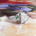 Art Deco Engagement Ring Vintage 1930's Old European Cut Diamond Lab Emerald Engagement Wedding Anniversary Ring Platinum