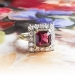 Vintage Emerald Cut Garnet Diamond Halo Engagement Ring Circa 1950's 14k Yellow White Gold