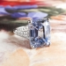 Vintage Emerald Cut Sapphire Diamond Platinum Engagement Anniversary Birthstone Ring