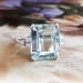 Vintage Emerald Cut Aquamarine Diamond Ring Circa 1970's  Ring 14k White Gold