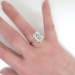 Vintage Emerald Cut Aquamarine Solitaire Ring Circa 1990's Braided Rope 14k Rose Gold Cocktail Statement Ring