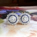 Art Deco Diamond Sapphire Earrings Circa 1930's Vintage Blue Sapphire Diamond Halo Earrings Platinum 18k Yellow Gold