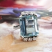 Vintage Emerald Cut Aquamarine Diamond Ring Circa 1970's Unique 7.94ct t.w. Engagement Wedding March Birthstone Ring 14k White Gold