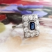Edwardian Sapphire Diamond Ring Antique Circa 1920's Emerald Cut Blue Sapphire Diamond Engagement Wedding Anniversary Ring Platinum