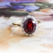 Vintage Garnet Diamond Ring Circa 1940's Garnet Old Single Cut Diamond Halo Ring 18k Platinum