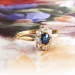 Antique Sapphire Diamond Ring Circa 1900's Edwardian Blue Sapphire & Old European Cut Diamond Halo Engagement Ring 18k