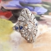Edwardian Diamond Navette Ring Circa 1915 Blue Lab Sapphires & Old Rose Cut Diamond Cocktail Anniversary Ring 18k Platinum
