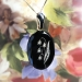 Antique Lily Of The Valley Victorian Circa 1870's Carved Onyx Black Enamel Rose Cut Diamond Mourning Pendant 14k Yellow Gold