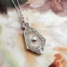 Art Deco Diamond Crystal Pendant Circa 1930's Filigree White Gold Pendant Necklace 14k