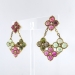 Estate Large Clover Shaped Multi Colored Cabochon Pink & Green Tourmaline Diamond Chandelier Earrings 18k Yellow Gold