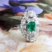 Art Deco Emerald Cut Emerald Diamond Ring Circa 1930's Vintage 1.52ct t.w. Anniversary Birthstone Multistone Ring Platinum