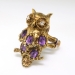Vintage Amethyst Diamond Owl Ring Circa 1950's Figural Birthstone Gift Birthday Ring 14k Yellow Gold