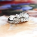 Vintage Retro 1950's Old Transitional Cut Mixed Cut Diamond Engagement Wedding Anniversary Wrap Band Platinum Ring