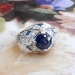 Art Deco Vintage 1930's Round Sapphire Diamond and Lab Sapphire Engagement Anniversary Cocktail Platinum Ring