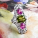 Huge Vintage 1920's 7.21ct t.w. Edwardian Pink Topaz Peridot Diamond Navette Cocktail Birthstone Ring Platinum
