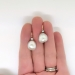 Antique Art Nouveau 1900's Old Mine Cut Diamond Gray Baroque Pearl Drop Earrings 14k Rose Gold Sterling Silver